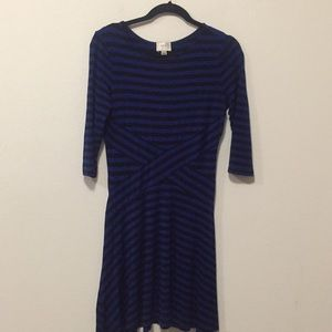 Blue and Black 3/4 Sleeve Dress-L